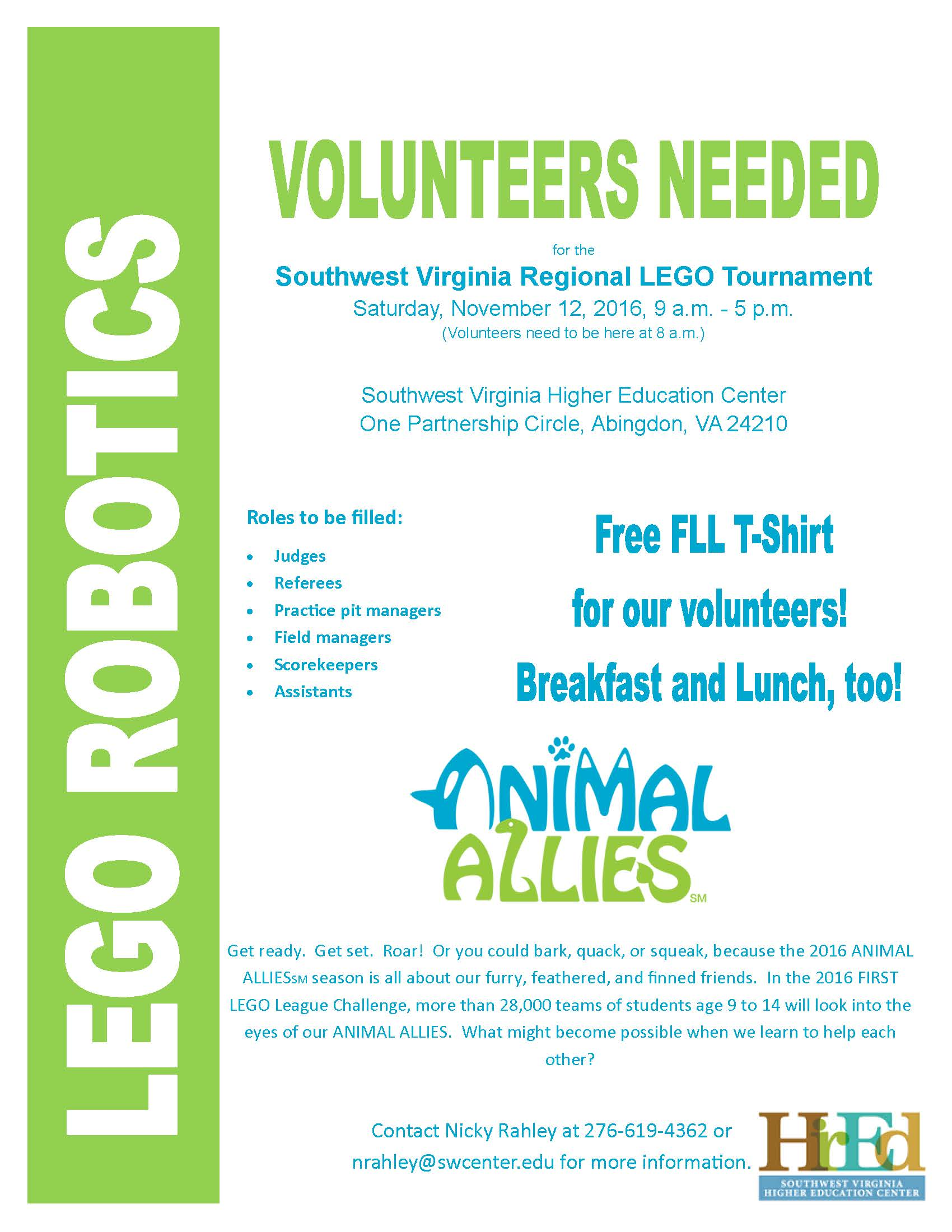 First Lego League Volunteer Flyer